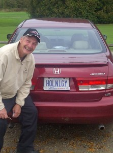 Charlie Wright with his Licence Plate